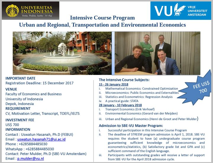Intensive Course Program - Urban and Regional, Transportation and Environmental Economics